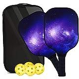 OURLOVE Pickleball Palles Raqueta Set 2, USAPA Aprobado Grafito Pickleball Raqueta con Polipropileno Honeycomb Core, 2 Raqueta 4 Ball + Bola Bolsa portátil, Apto para Principiantes