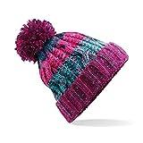 Beechfield Adults Corkscrew Knitted Pom Beanie Hat Gorro de Punto, Multicolor (Electric Grey 000), Talla única Unisex Adulto