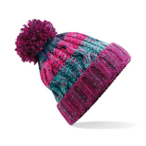 Beechfield Adults Corkscrew Knitted Pom Beanie Hat Gorro de...