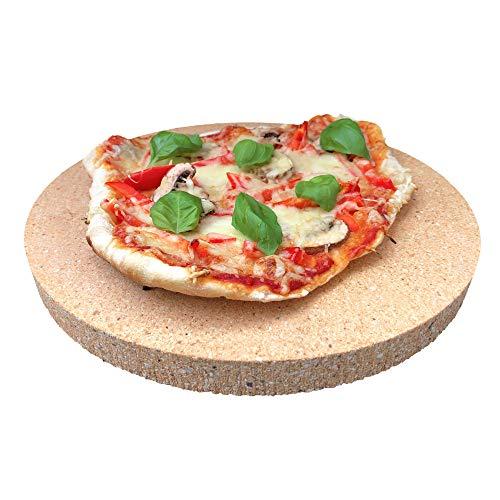 PUR Schamotte Pizzastein rund 31 cm x 30 mm Für Gasgrill, Für Grill, Brotbackstein Für Backofen Schamott