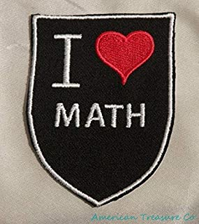 Embroidered Retro Vintage Style I Love Math Geek Nerd Black Patch Iron On USA