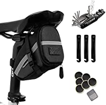 Hommie Bike Repair Tool Kits, 16-in-1 Bicycle Saddle Bag with Repair Set, Mechanic Portable Tyre Tools Set Bag with Reflective Strip