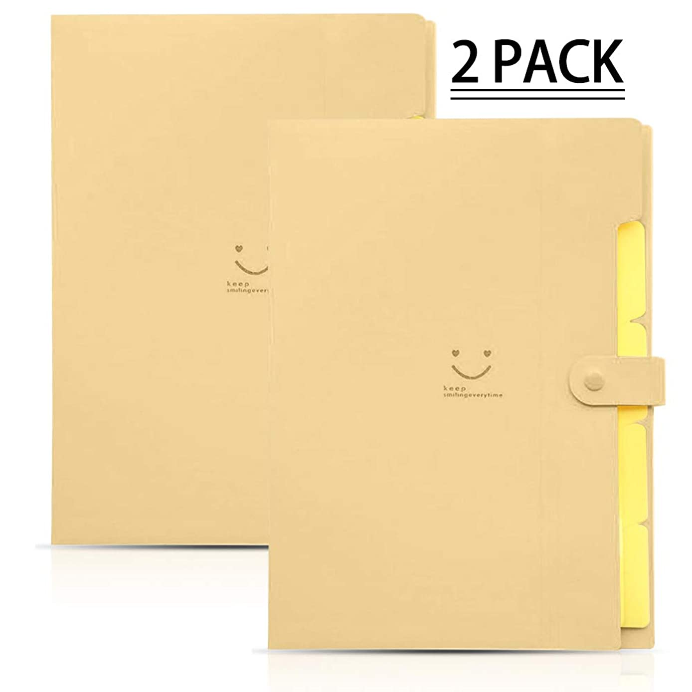 YASSUN File Folder 5 Pockets, Folder Test Paper Clip, Accordion Document Organizer, Multi-Layer A4 File Folders, 2 Pack (Beige)