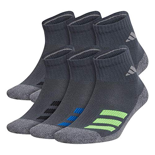 adidas Kids-Boy's/Girl'S Cushioned Quarter Socks (6-Pair) Calcetines, Onix - Onix - Onix (luz verde y solar), color verde, large Unisex Adulto