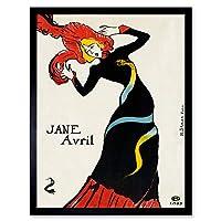 Toulouse-Lautrec Can-can Dancer Jane Avril Art Print Framed Poster Wall Decor 12x16 inch アンリドトゥールーズロートレックダンサーポスター壁デコ