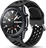 Easuny Compatible for Samsung Galaxy Watch 3 45mm Band/Samsung Watch Band 46mm /Galaxy Gear S3 Frontier, 22mm Quick Release Silicone Breathable Watch Strap Accessories, Anthracite/Black Large