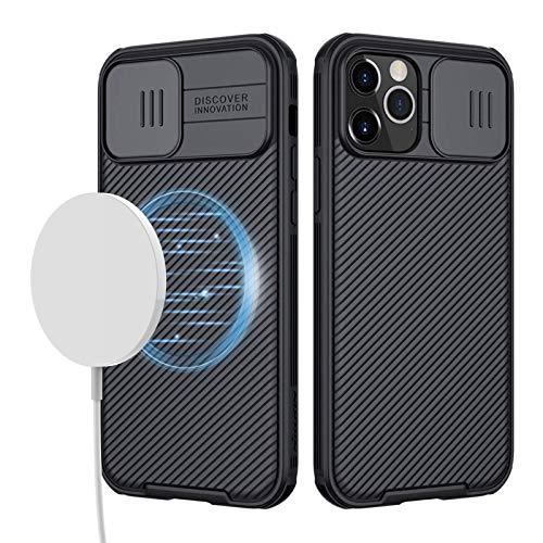 imluckies Magnetisch Hülle Kompatibel mit iPhone 12 Pro Max mit Kameraschutz, Handyhülle Dünn & Stoßfest, [Anti-Rutsch & Anti-kratzen] Magnetic Ring Hülle für iPhone 12 Pro Max 6,7''(Schwarz)
