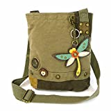 Chala Patch Cross-Body Women Handbag, Canvas Messenger Bag - Dragonfly - Olive