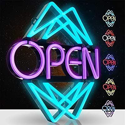 Element Lux LED Open Sign - 49 Color Combination Open Signs for Business, Office, Bar, Barber or Salon. Light Up Neon Sign with Remote - 20 x 22in - LED Light Sign, 7 Bright Colors