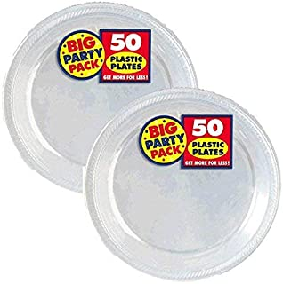 Amscan Big Party Pack Plastic Lunch Plates, 10.5-Inch, Clear, 100 Count