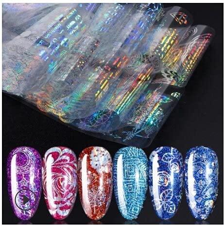 PMSMT Conjunto de Pegatinas de diseños de Pegatinas de uñas deOro y Plata Pegatinas de Estampado en Caliente Pegatinas de Transferencia de Arte de uñas de Frutas Tatuajes Deslizadores manicura