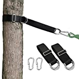 Camping Hammock (6FT) x 2 Tree Swing Straps Hanging kit 4 D-Ring,Extra Long Strap with 2 Heavy Duty Safety Lock Carabiner Hooks for Kids-2 Pack(Black)