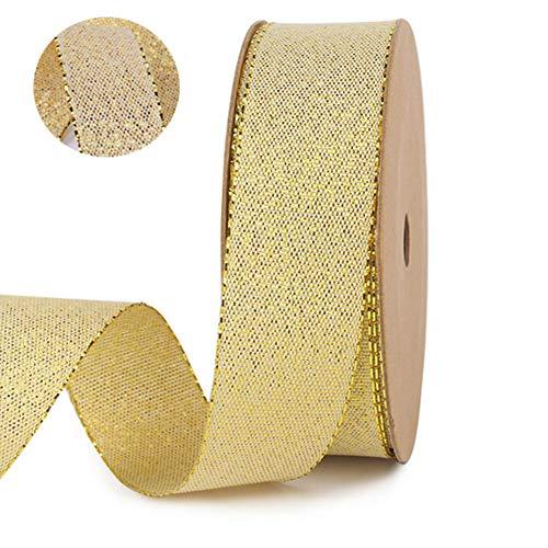 1 paquete de cinta de oro/plata, paquete de 10 yardas de regalos de cinta decorativa, cintas metálicas de organza para manualidadesyálbum derecortes