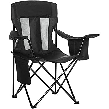 AmazonBasics Camping Chair with Cooler, Black (Mesh)