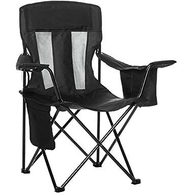 AmazonBasics Camping Chair with Cooler, Black (Mesh)