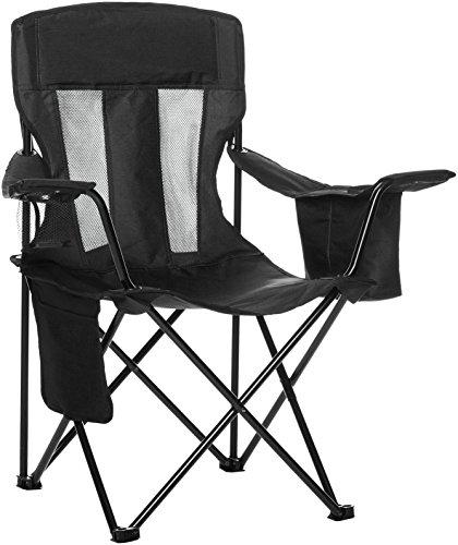 Amazon Basics - Silla de camping con enfriador, Negro (Malla)
