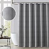 KOMFIER Cortina de ducha de diseño gris y blanco para baño, 96 pulgadas, extra larga, tela ultra suave para lavar a máquina, tejido mezclado, ojales reforzados, calidad hotelera (72 x 96 pulgadas)