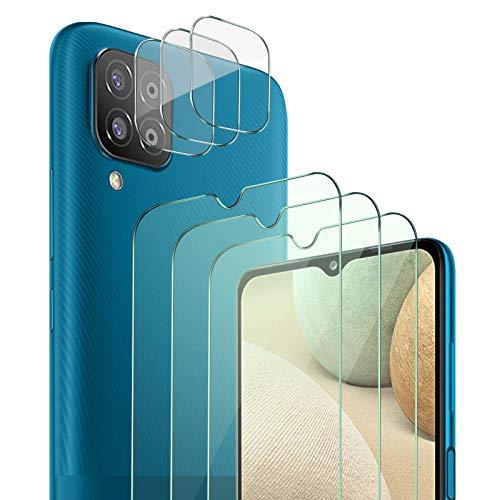 QHOHQ 3 Pezzi Pellicola Protettiva per Samsung Galaxy A12&M12 con 3 Pezzi Fotocamera Pellicola Protettiva,Vetro Temperato Membrana,Durezza 9H - HD - Anti-Graffio - Senza Bolle - Facile Installare