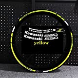 Etiqueta engomada de la Motocicleta para Z650 Motor Reflectante Bike Rum Decal Decoración Impermeable Personalizado Remonte Interior Rayas Pegatinas para Moto (Color : Yellow with z)