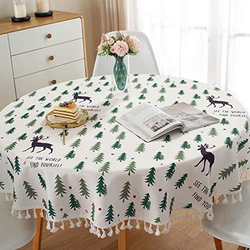 YCZZ Mantel, Mantel Redondo de decoración navideña, Mantel de Escritorio con Borla Impermeable diámetro274cm Verde