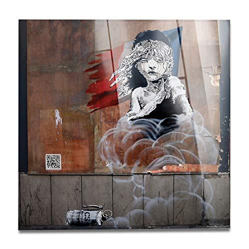 Giallobus - Schilderij - Klaar om op te hangen - Afdrukken op Acrylglas Plexiglas - Banksy - De ellendige - moderne schilderijen home design meubels - slaapkamer - diverse maten XXL - 100x100 cm