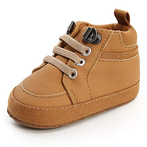 SOFMUO Baby Boys High-Top Ankle Sneakers Infant Slippers Anti-Slip Soft Sole Toddlers First Walkers Shoes