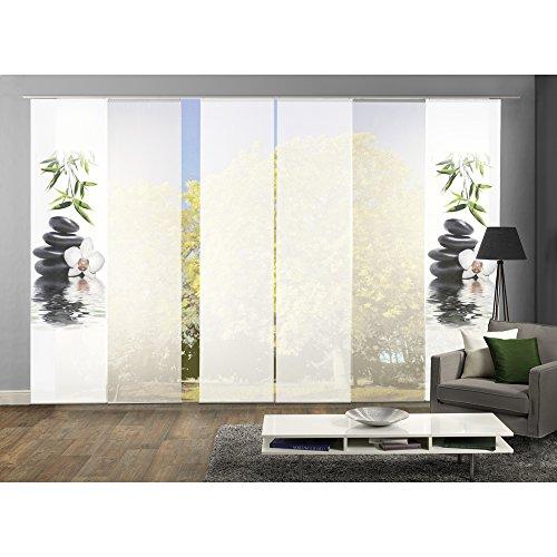 6er-Set Flächenvorhänge RUSKIN | 2x Motiv- und 4x Uni-Flächenvorhang, weiß | blickdichter Dekostoff & transparenter Halborganza| 245 x 60 cm | 96306-768