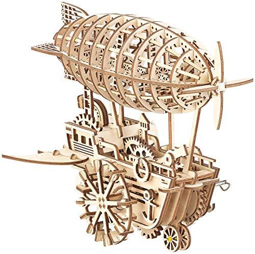 Simulus 3D Holzpuzzle: Aufziehbares Holz-Luftschiff im Steampunk-Stil, 349-teiliger Bausatz (Holzmodell)