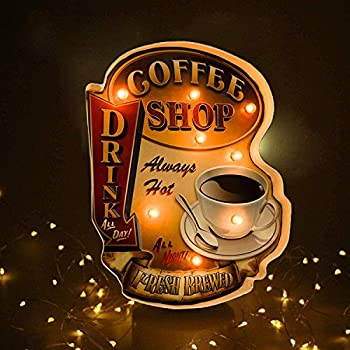 Coffee Shop Wall DecorationLuminous Signs,Using Retro-Painted Industrial Metal Technology Deliberately Faded and Worn Used in Bars Home,Apartment,Kitchens etc–Battery Operated  Shop