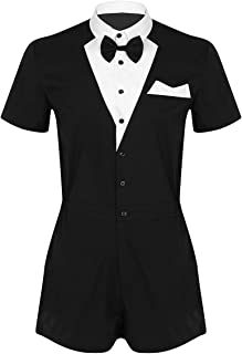 Agoky Men's One-Piece Bow Tie Tuxedo Bodysuit Turn Down Collar Shirts Shorts Butler Waiter Gentleman Jumpsuit Outfits