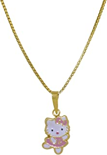 Shin Brothers Inc. 14K Yellow Gold Pink Enamel Dancing Hello Kitty Charm