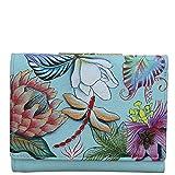 Anuschka Geldbörse, handbemalt, RFID-blockierend, kleine Klappe, französische Brieftasche, Jardin Bleu