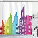 ABAKUHAUS Stadt Duschvorhang, Bunte Skyline Stadt, Bakterie Schimmel Resistent inkl. 12 Haken Waschbar Stielvoller Digitaldruck, 175 x 220 cm, Multicolor