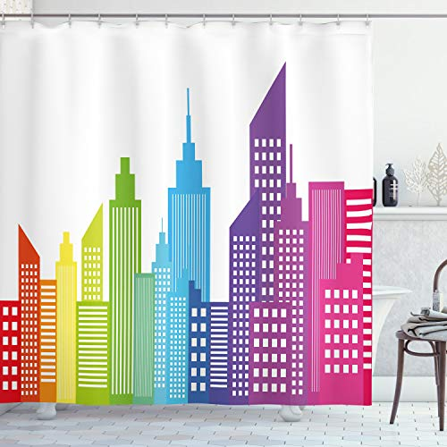 ABAKUHAUS Stadt Duschvorhang, Bunte Skyline Stadt, Bakterie Schimmel Resistent inkl. 12 Haken Waschbar Stielvoller Digitaldruck, 175 x 200 cm, Multicolor