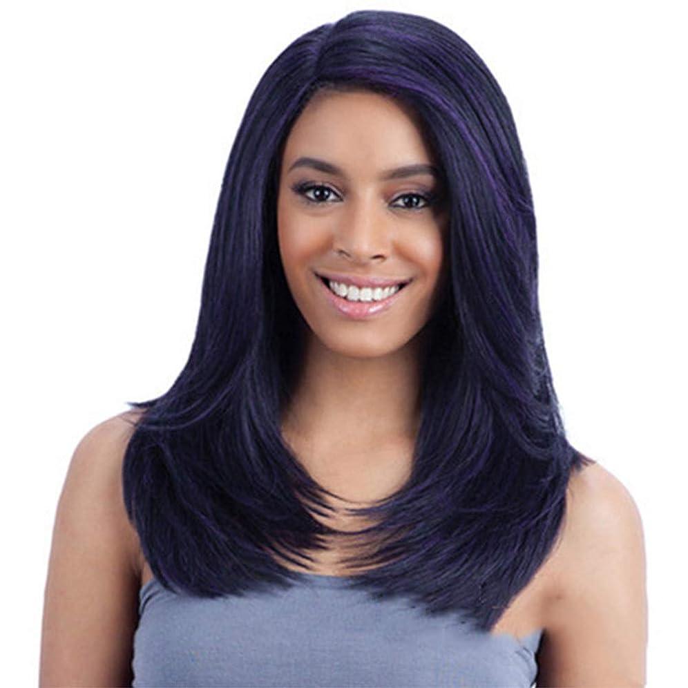 ウールカポック満足させるかつら女性180%密度カーリー合成耐熱性ファイバーヘアウィッグナチュラルデイリーアクセサリーブラックパープルブレンド50cm