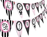 Paris Happy Birthday Banner Pennant - Paris Party Decorations - Glamour Girl Party Banner