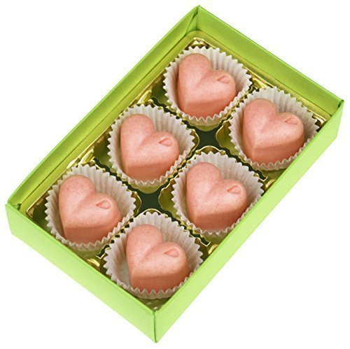 Greendoor Badepralinen Pink Grapefruit, 6er Karton für 6 Cremebäder, mit BIO Kakaobutter handgefertigte Naturkosmetik, gegen trockene Haut, Valentin Muttertag Geschenke Geburtstagsgeschenk