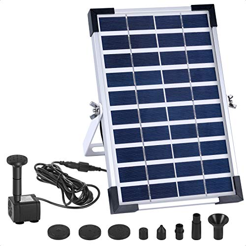 Ankway Bomba de fuente solar con batería incorporada, fuente flotante de bomba de agua solar de 5W para baño de pájaros, pecera, estanque o decoración de jardín Bomba solar de estanque