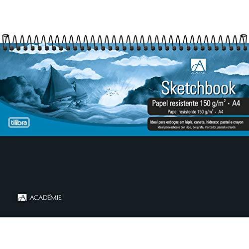 Caderno Sketchbook Espiral Capa Plástica A4 Académie 50 Folhas,Tilibra - 1 un