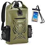 Piscifun Angry Face Dry Bag with Waterproof Phone Case, Waterproof Dry Backpack for Men and Women, Floating Dry Bag Backpack 50L Army Green