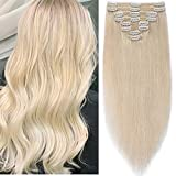 Extensions a Clip Cheveux Naturel Blond Platine Rajout a Froid Double Wefts Volume [Maxi Epaisseur] 8 Pieces 18 Clips in Remy Human Hair Extensions 100% Vrai Humains 25CM