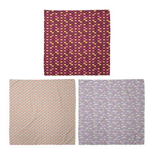 ABAKUHAUS Unisex Bandana, Moderne Arc Formen Regenbogen-Kreise Japanische Welle Pastell, 3er Pack, Mehrfarbig