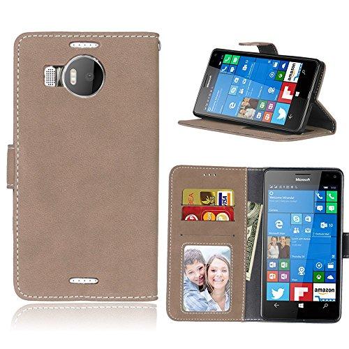 Janeqi per Nokia Microsoft Lumia 950XL Cover Custodia - Borsa Vintage in Pelle Flip con Trattamento Anti-Caduta Case Cover - H8/Beige