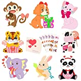 40-CountValentines Day Cards for Kids - Valentines Cards with Temporary Tattoos & Envelopes - Perfect Animals Theme Valentines Day Greeting Cards for School Classroom Valentine's Party Exchange Gifts