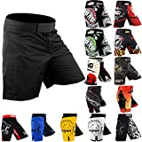 ROAR MMA Fight Shorts UFC Grappling Muay Thai BJJ Crossfit Training Jiu Jitsu No Gi Wear (Small, Black)
