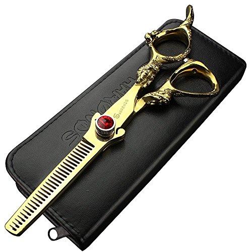 Juego de tijeras para adelgazar el cabello de 6 pulgadas con mango de dragón dorado tijeras de peluquería profesional kit de tijeras de peluquería para hombres o mujeres (juego de tijeras)