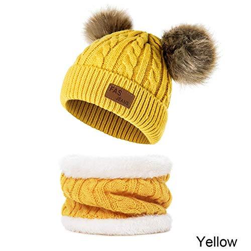 XCLWL Beanie dames muts kinderen warme winter beanie hoed jongens meisjes ring sjaal winter gebreide mutsen voor kinderen scullies beanies cap D