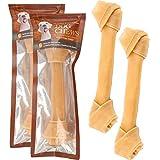 YOMMY® Hueso Nudo para Perros Delicioso Snack para Perro en Forma de Hueso ( 100% piel de vaca) Antiestrés para nuestro can y Fortalecedor de Dientes YM-1108 (18cm 2 Unidades)