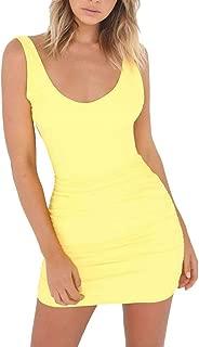 Jojckmen Women Girls Summer Sling Dress Sleeveless Backless Solid Mid Dress V Neck