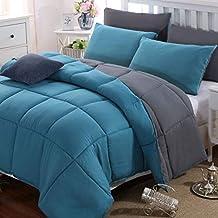 Duvet Comforter Warm and Anti Allergy All Season Quilt Duvet Bedding All Season Reversible (Double Size, Grey/Teal)